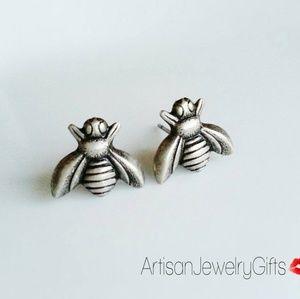Hypo-Allergenic Sterling Silver Bee Stud Earrings
